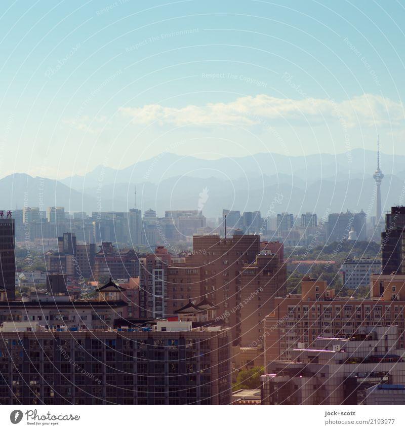 Peking, heitere Aussicht 405 Meter Sightseeing Städtereise Stadtteil Wohnhochhaus Himmel Wolken Horizont Berge u. Gebirge Hauptstadt Stadtzentrum Bürogebäude