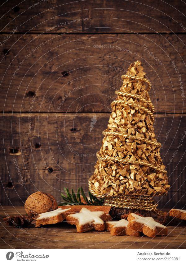Zimtsterne mit goldenem Tannenbaum Teigwaren Backwaren Süßwaren Bioprodukte Winter Weihnachten & Advent lecker süß cookies star homemade seasonal decoration