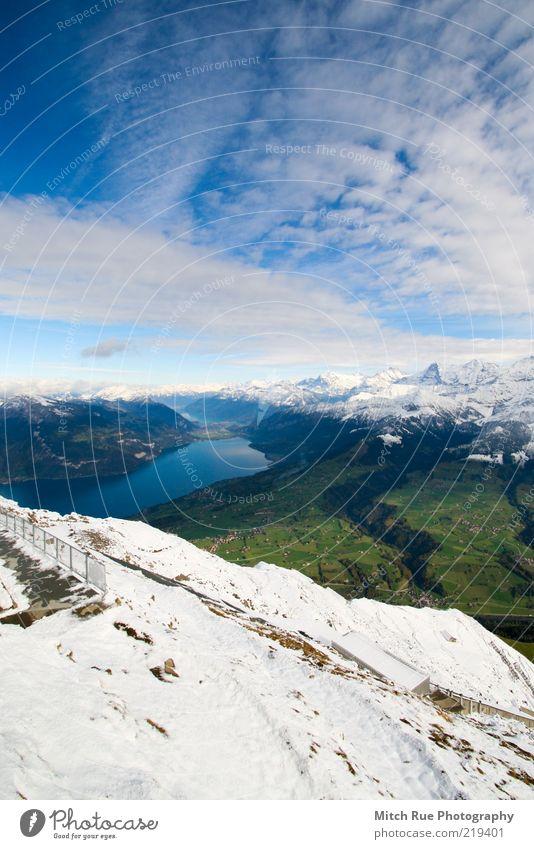 Hoch über der Welt ruhig Schnee Berge u. Gebirge Umwelt Natur Landschaft Himmel Wolken Herbst Winter Felsen Alpen Gipfel Schneebedeckte Gipfel Gletscher