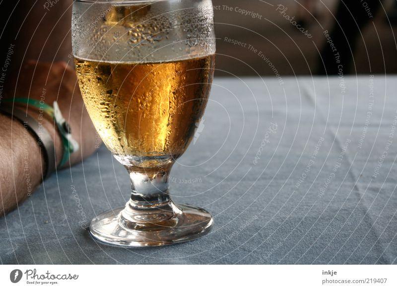 *zischhhhhhhh* Ernährung Erfrischung Getränk Alkohol Bier Glas Stammtisch Feierabend Sommer Tropfen Kondenswasser Laster Durst Alkoholsucht Unterarm aufstützen