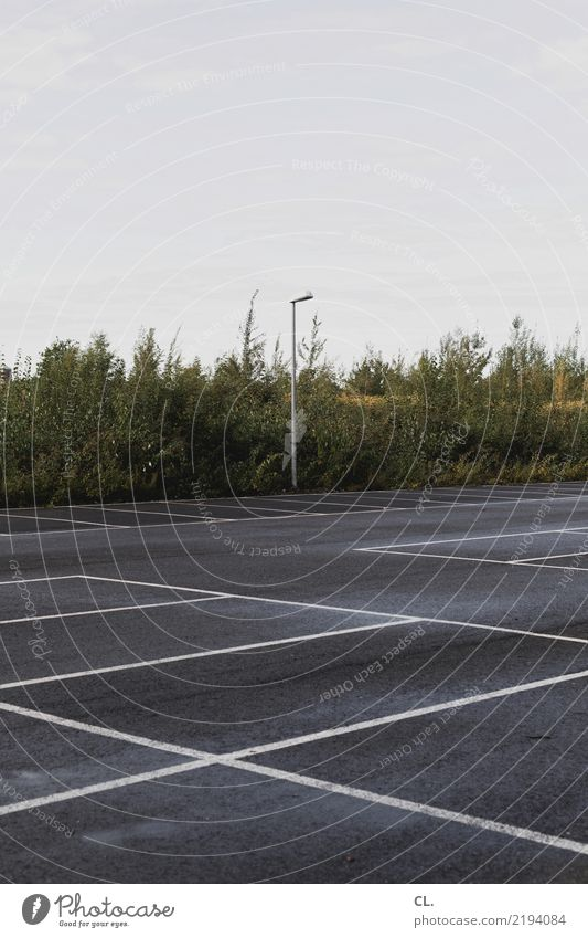 parkplatz Himmel Natur grün Einsamkeit Wege & Pfade grau Linie Verkehr trist Sträucher Platz Straßenbeleuchtung Verkehrswege Langeweile Autofahren Parkplatz