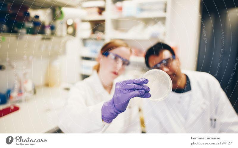 Science is beautiful (30) Mensch feminin maskulin Zukunft Konzentration Wissenschaften Teamwork Mitarbeiter Fortschritt Handschuhe Labor international