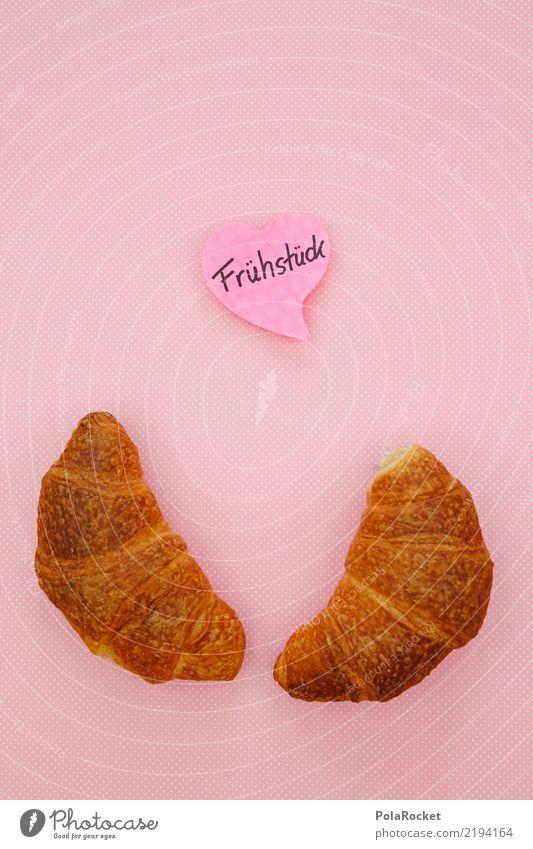 #AS# Frühstück für Zwei Kunst Kunstwerk ästhetisch Croissant Backwaren Frühstückstisch Frühstückspause rosa minimalistisch Farbfoto Gedeckte Farben