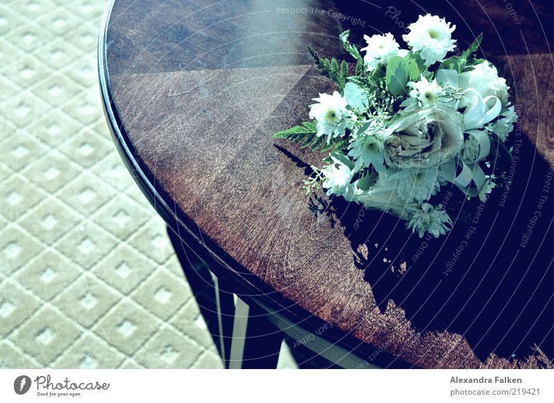 Drum prüfe, wer sich ewig bindet. Blume Gefühle Stil Blüte Holz elegant Tisch Verbindung Blumenstrauß Partnerschaft Teppich Licht Zeremonie