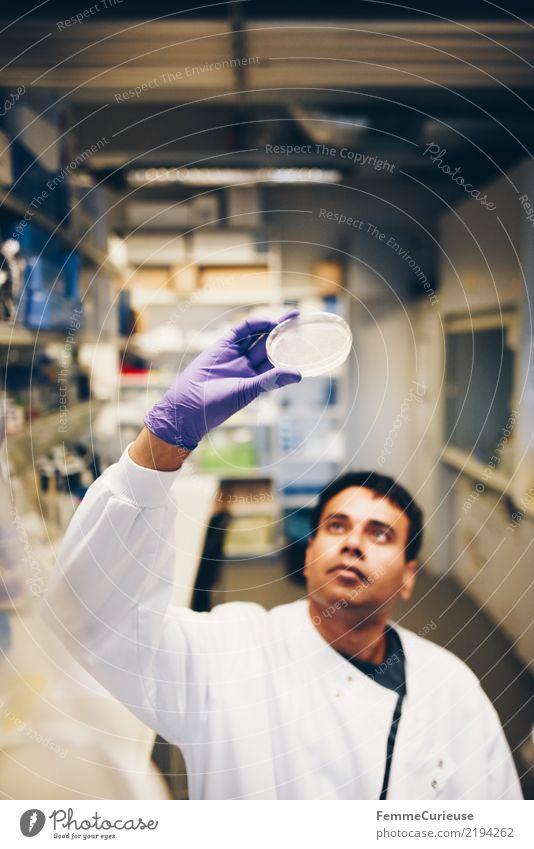 Science is beautiful (24) Wissenschaften Fortschritt Zukunft maskulin Mann Erwachsene 1 Mensch 30-45 Jahre kompetent Konzentration Labor Laborschale