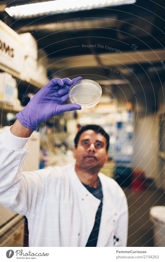 Science is beautiful (45) Mensch Mann Hand Erwachsene maskulin Zukunft Konzentration Wissenschaften Fortschritt Handschuhe Chemie Labor international Biologie