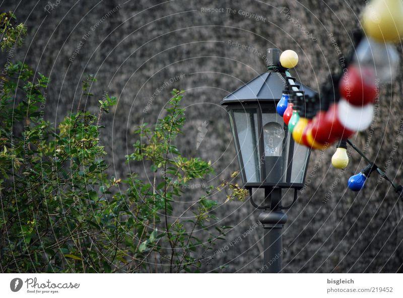 Das Ende der Saison IV Party Feste & Feiern Gastronomie Sträucher Grünpflanze Kühlungsborn Deutschland Europa Wand Lampe Laterne Glühbirne Stein mehrfarbig grau