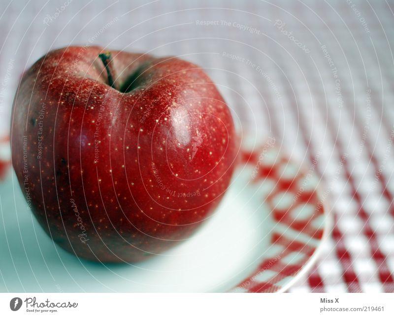 Roter Apfel rot Ernährung Gesundheit Lebensmittel Frucht süß Stengel lecker reif Teller Picknick Diät Bioprodukte kariert