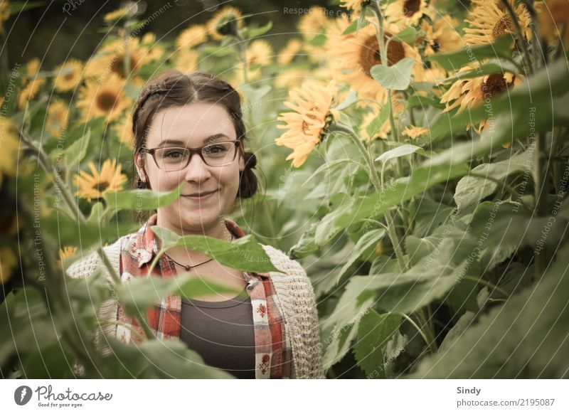 Sunflower2 Mensch feminin Mädchen Junge Frau Jugendliche Körper 1 13-18 Jahre Natur Landschaft Pflanze Blume Sonnenblume Feld brünett Zopf Freundlichkeit