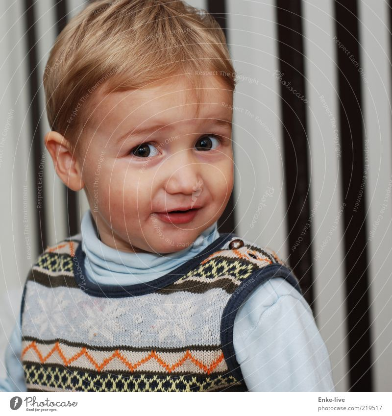 großer Bruder Mensch maskulin Kind Kleinkind Junge Kindheit Gesicht 1 1-3 Jahre Denken drehen Lächeln Blick ästhetisch blond authentisch frech Fröhlichkeit