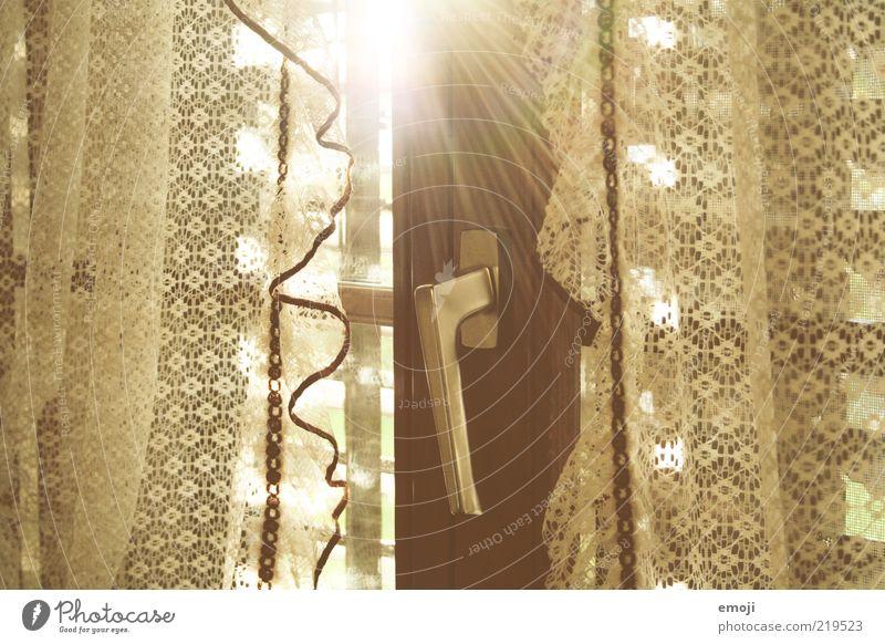 Fenster zur Seele Sonne Fenster braun geschlossen leuchten Griff Gardine Spitze Licht altmodisch Fensterladen Hebel Fensterrahmen