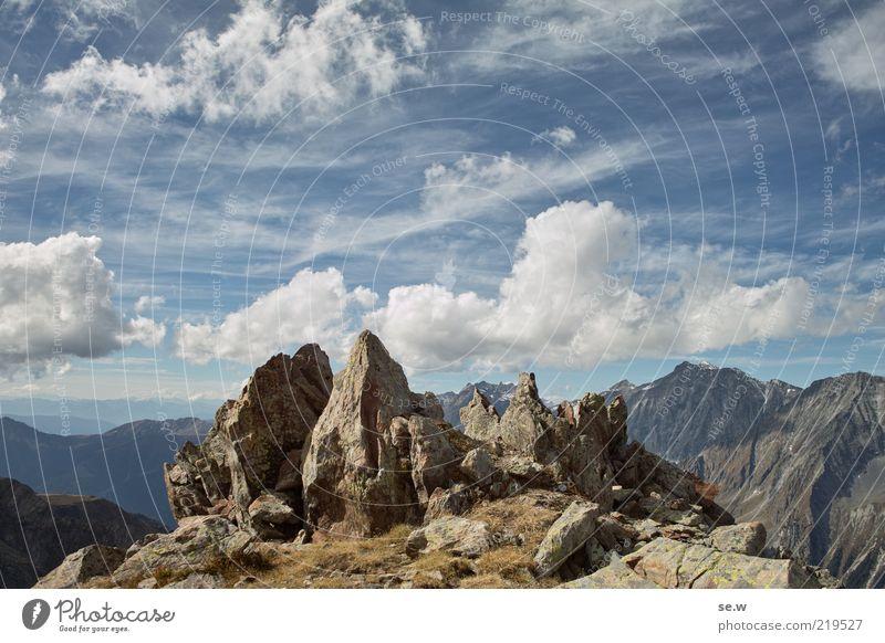 Stalagmiten ....... | Antholz [13] Himmel Wolken Sommer Felsen Alpen Berge u. Gebirge Antholzer Tal Südtirol Croda Rossa Gipfel eckig blau braun Fernweh
