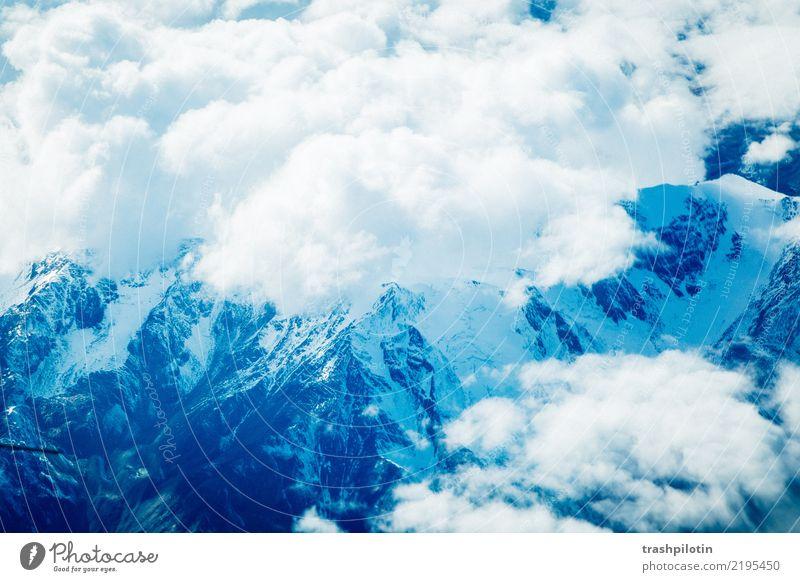 Blick auf die Alpen Himmel Natur Ferien & Urlaub & Reisen Landschaft Wolken Ferne Berge u. Gebirge Schnee Glück Tourismus Freiheit Stimmung Zufriedenheit