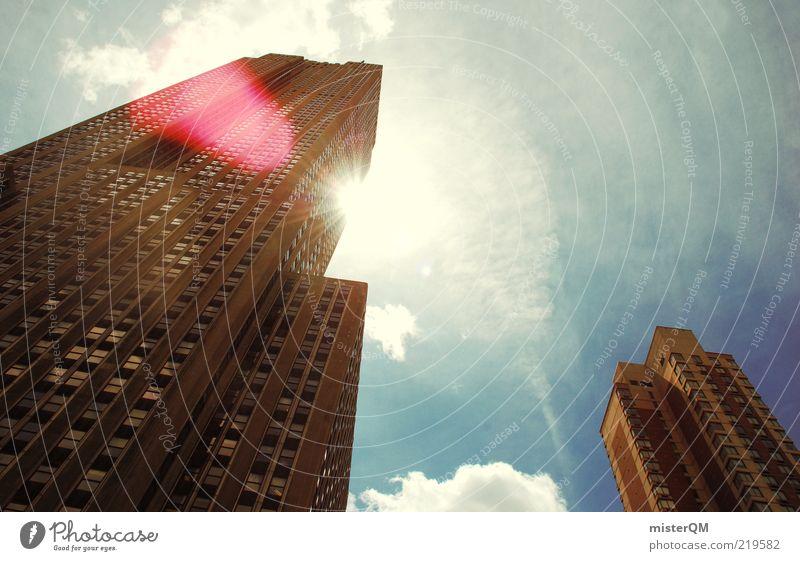 Lichtblick. oben Architektur Hochhaus ästhetisch Macht Bankgebäude Bauwerk Symbole & Metaphern aufwärts Schönes Wetter New York City vertikal Größe Farbfleck
