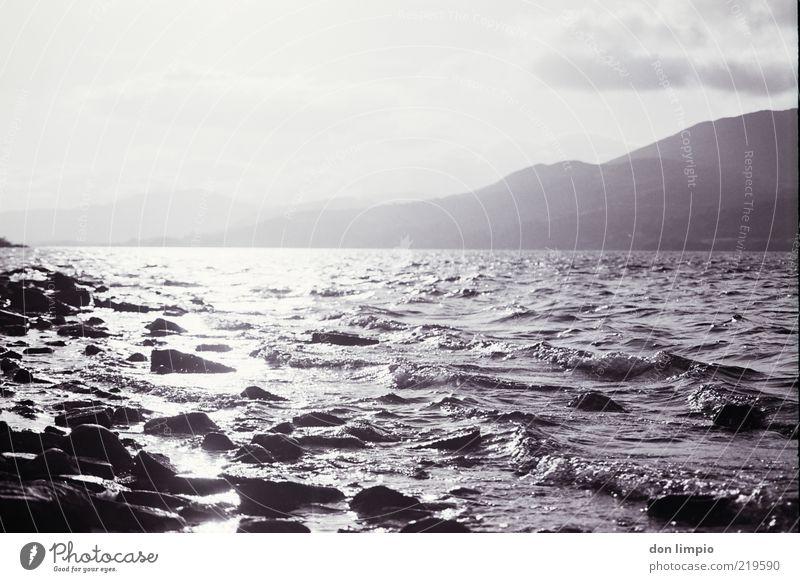 lough corrib Ferne Sonne Insel Wellen Landschaft Wetter Schönes Wetter Seeufer Lough Corrib groß Idylle Umwelt analog Schwarzweißfoto Außenaufnahme Menschenleer