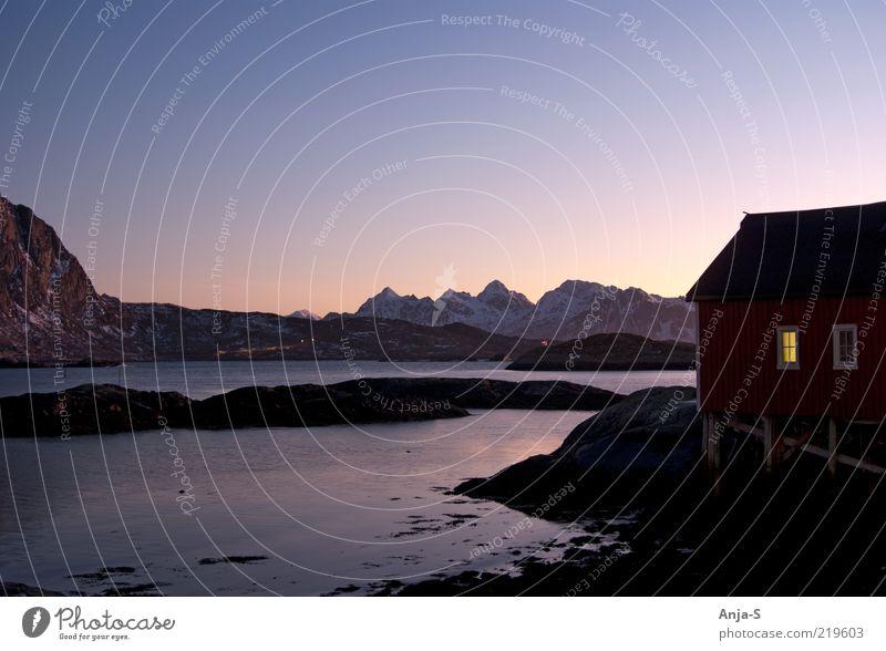Svolvær, Lofoten Tourismus Ferne Freiheit Winter Natur Landschaft Wasser Himmel Wolkenloser Himmel Sonnenaufgang Sonnenuntergang Schönes Wetter Nordlicht Felsen