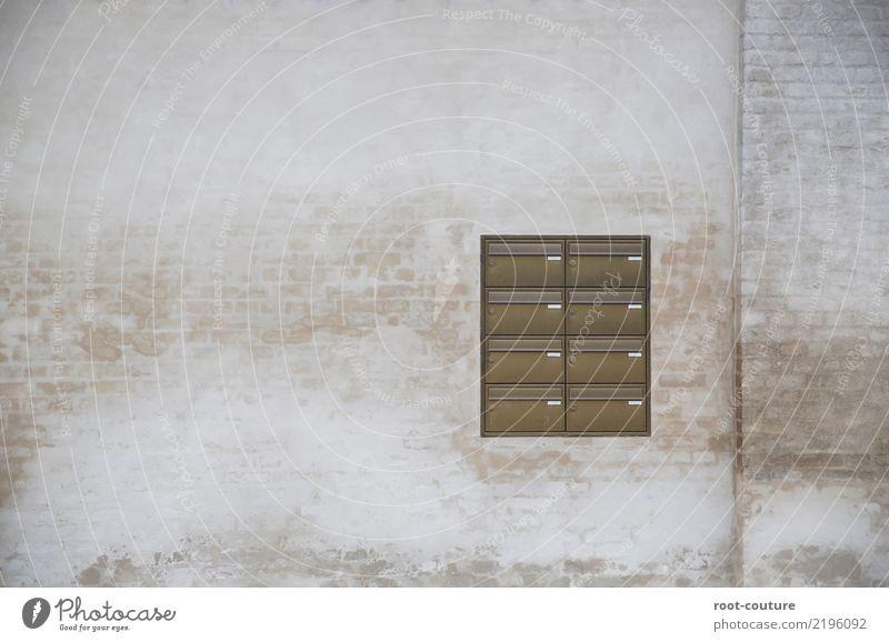 Mail in a box Haus Post E-Mail Gebäude Mauer Wand Fassade Backstein füttern Kommunizieren retro braun Hintergrundbild Grunge mailbox Mitteilung old-school