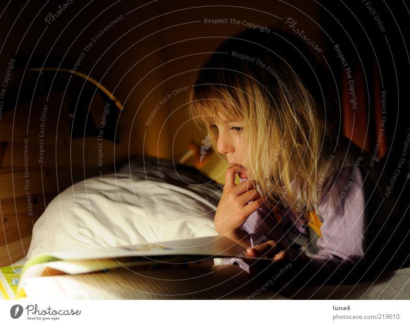 Bettgeschichte Mensch Kind Mädchen feminin Buch blond lernen lesen Freizeit & Hobby Bildung Kindheit Neugier Konzentration Kleinkind