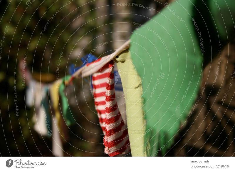 1500 Stil Design harmonisch ruhig Garten Stimmung Farbe Umwelt Stoff Wäscheleine gestreift Farbfoto Gedeckte Farben mehrfarbig Außenaufnahme Nahaufnahme
