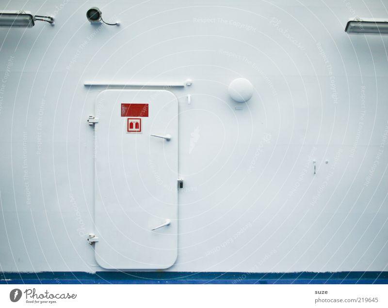 Kein Zutritt weiß Wand hell Metall Wasserfahrzeug Tür geschlossen Hinweisschild Sicherheit Schifffahrt Stahl graphisch Fähre Schiffsdeck Warnschild