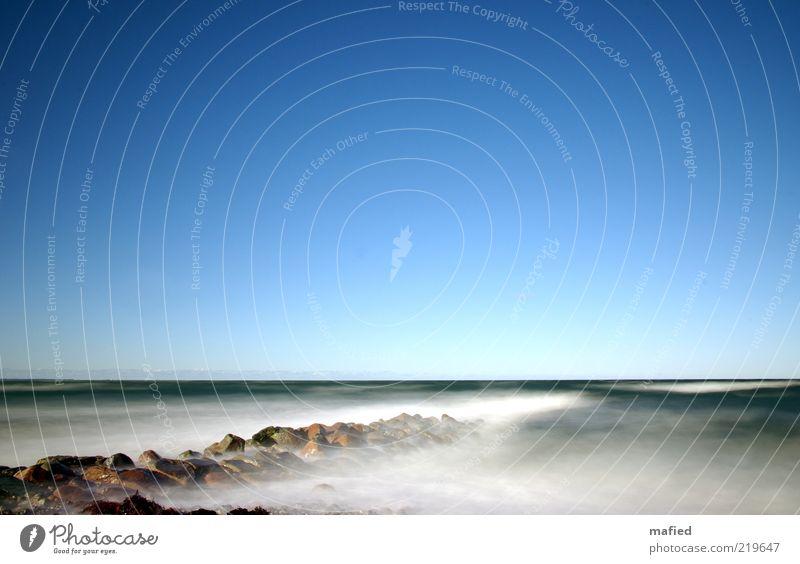 Himmelblau Natur Wasser weiß grün ruhig Einsamkeit Ferne Herbst grau Stein Sand Landschaft Luft braun
