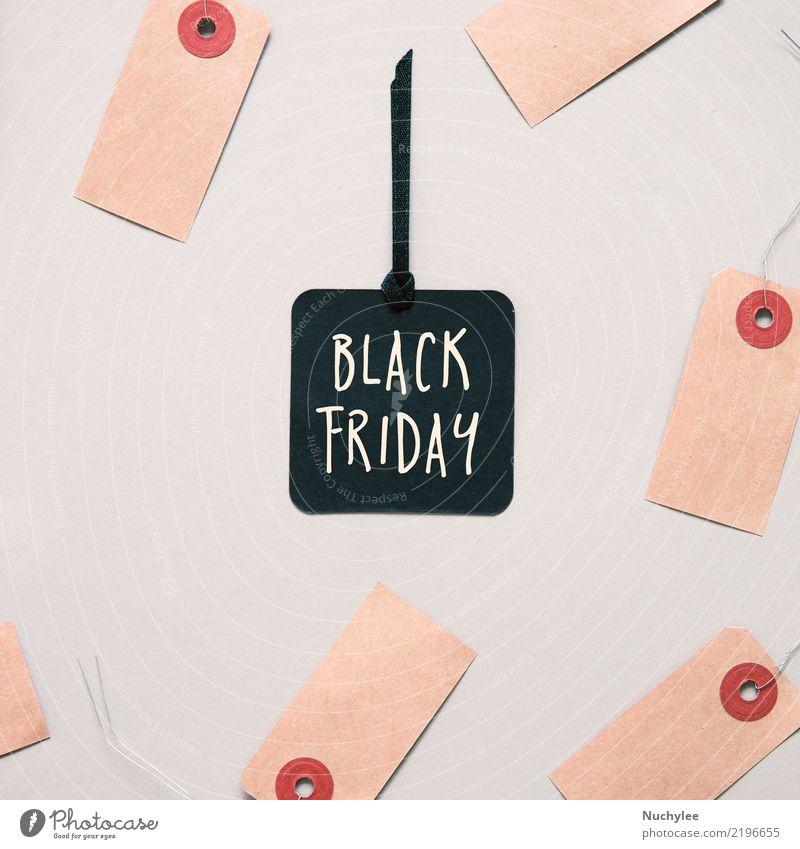 Schwarzer Freitag-Verkaufstag rot schwarz Stil Business außergewöhnlich Mode Design Geschenk kaufen Papier Symbole & Metaphern Postkarte Jahreszeiten Wort Text