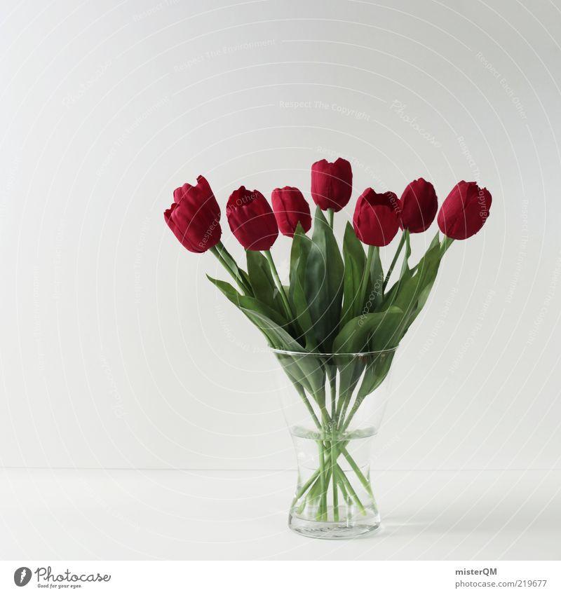 Mehr als 1000 Worte. Wasser weiß rot Blume Blatt Blüte Kunst Design Ordnung frisch ästhetisch Dekoration & Verzierung Kitsch Stengel trashig Blumenstrauß