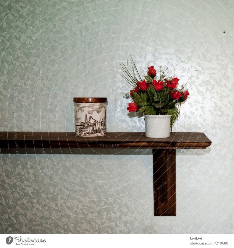 rosen Rose Kunststoff plastikpflanze Dose Regal Tapete grün rot retro Holz Blumentopf glänzend Dekoration & Verzierung konventionell Menschenleer falsch