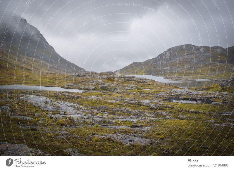 Regenstimmung in Berglandschaft in Norwegen, grau, nass Natur Urelemente Wolken schlechtes Wetter Berge u. Gebirge Fjäll dunkel trist wild Traurigkeit Sorge