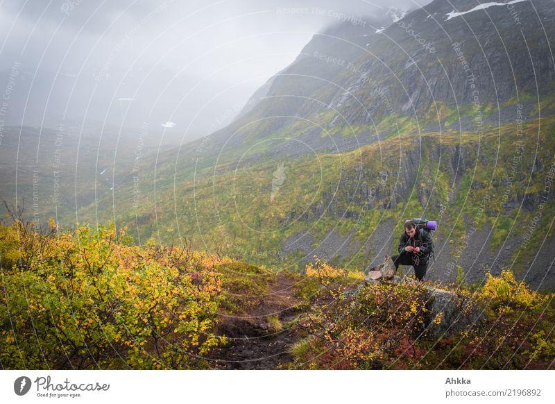 Junger Mann in Herbstlandschaft Norwegens, zum Träumen Natur Ferien & Urlaub & Reisen Jugendliche Landschaft ruhig Ferne Berge u. Gebirge Leben Wege & Pfade
