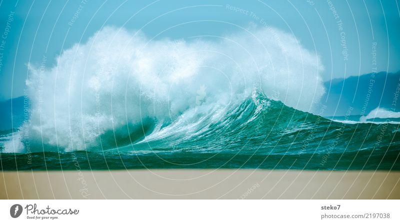 Welle ungekämmt Wasser Wind Sturm Wellen Meer bedrohlich frisch maritim nass wild blau türkis Bewegung chaotisch Kraft Wellenbruch Gischt Dynamik spritzig