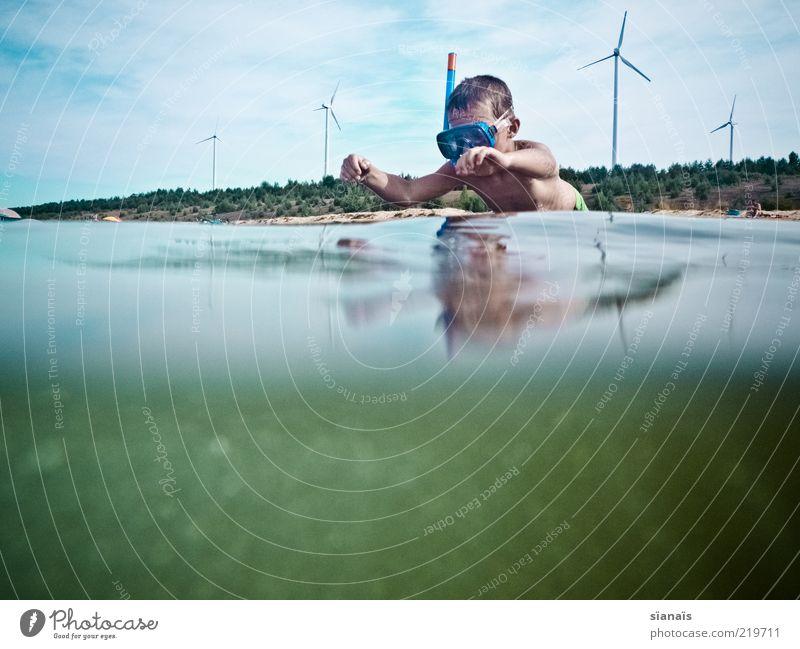 energiequellen Kind Natur Wasser Sommer Strand Umwelt Landschaft Leben Spielen Junge springen See Luft Kindheit Schwimmen & Baden Freizeit & Hobby