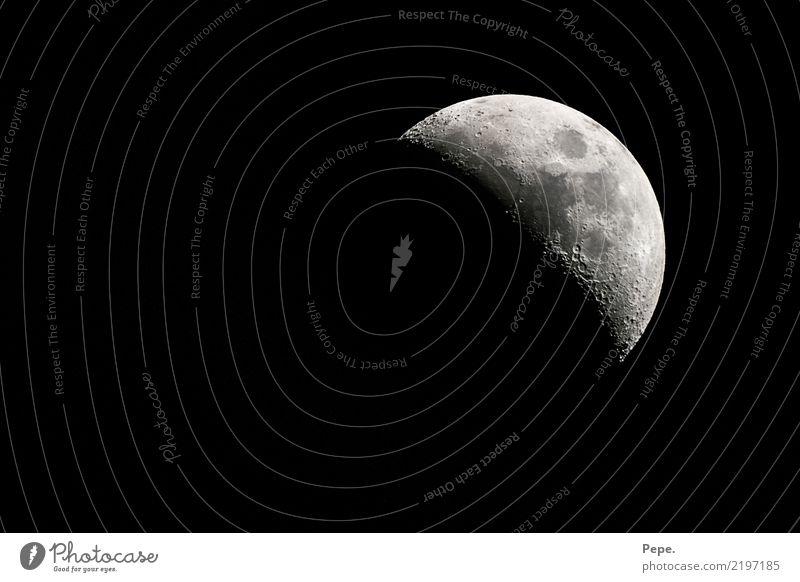 Mond Natur Himmel schlafen Zufriedenheit Weisheit klug Halbmond Horizont Farbfoto Nacht Licht Schatten