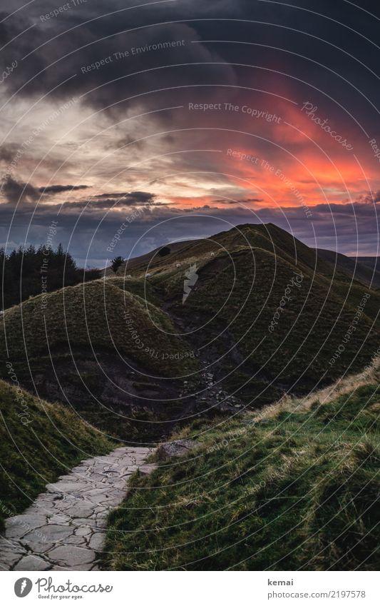 Hügelfeuer Himmel Natur Ferien & Urlaub & Reisen Sommer Landschaft Sonne rot Erholung Wolken ruhig Ferne Berge u. Gebirge dunkel Wiese Gras Freiheit
