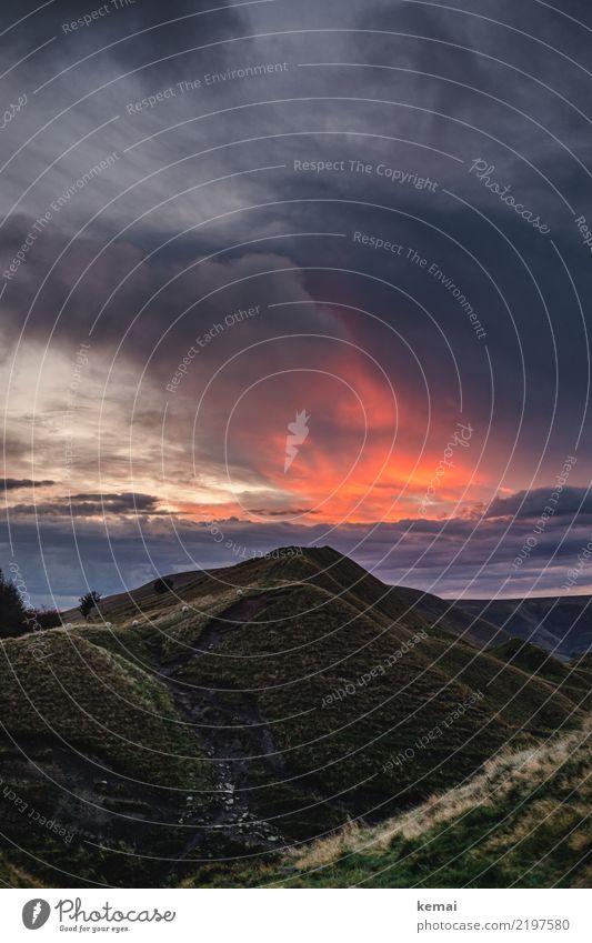 Himmelsfeuer Natur Sommer schön Landschaft Erholung Wolken ruhig Gras Freiheit außergewöhnlich Ausflug Zufriedenheit Freizeit & Hobby leuchten Wetter