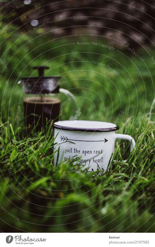 Just the open road... und etwas Kaffee Getränk Heißgetränk Becher Emaille Kaffeebecher Cafetiere french press Lifestyle harmonisch Wohlgefühl Erholung ruhig