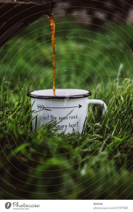 Camping + Kaffee = <3 Getränk Heißgetränk Tasse Emaille Lifestyle harmonisch Wohlgefühl Zufriedenheit Erholung ruhig Freizeit & Hobby Ferien & Urlaub & Reisen