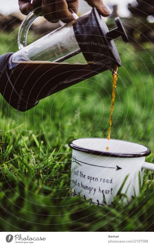 Der erste Kaffee Getränk Heißgetränk Becher Kaffeekanne Lifestyle harmonisch Wohlgefühl Zufriedenheit Erholung ruhig Duft Freizeit & Hobby Ausflug Abenteuer