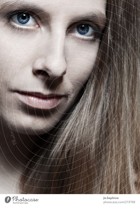 I still think of you. Mensch Jugendliche blau schön Gesicht Erwachsene Junge Frau feminin Haare & Frisuren 18-30 Jahre natürlich elegant ästhetisch brünett langhaarig Behaarung