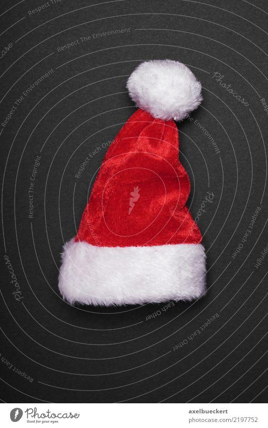 Weihnachtsmannmütze Design Feste & Feiern Weihnachten & Advent Mütze rot schwarz weiß Tradition Weihnachtsdekoration Nikolausmütze Vor dunklem Hintergrund