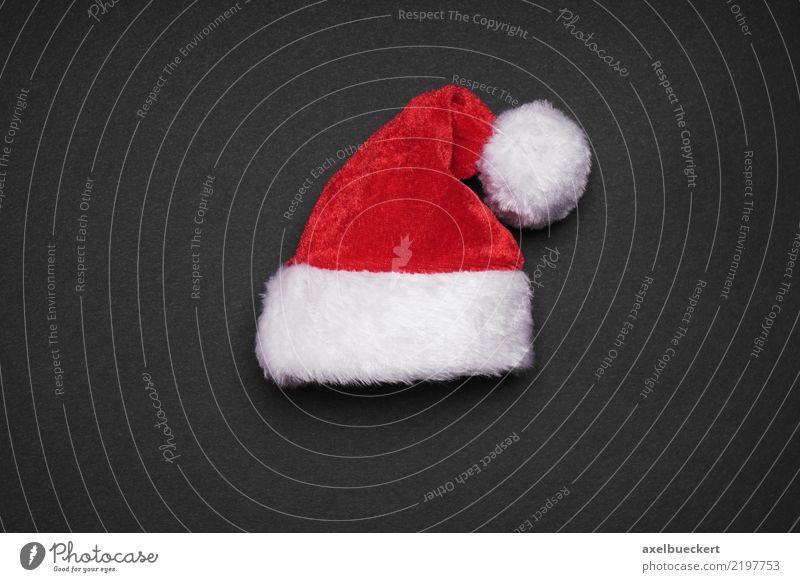 Weihnachtsmannmütze Design Weihnachten & Advent Mütze rot schwarz weiß Tradition Weihnachtsdekoration Nikolausmütze Farbfoto Studioaufnahme Nahaufnahme