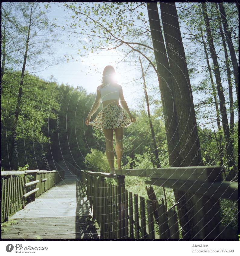 geländergängig Jugendliche Junge Frau Sommer schön Baum Landschaft Wald 18-30 Jahre Erwachsene Leben Beine natürlich feminin Holz Ausflug ästhetisch