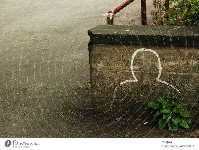 They say | The hardest part in life, is ... Mann weiß Erwachsene Einsamkeit Straße Gefühle Graffiti Kopf Stein Mauer maskulin Backstein verstecken anonym