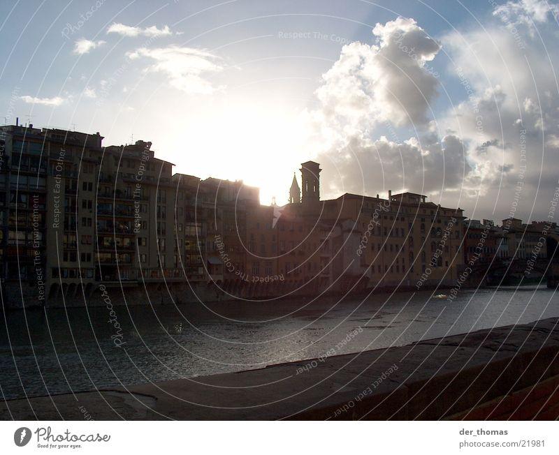Florenzer-Dämmerung Wasser Himmel Sonne Haus Wolken groß Europa Italien Toskana Florenz