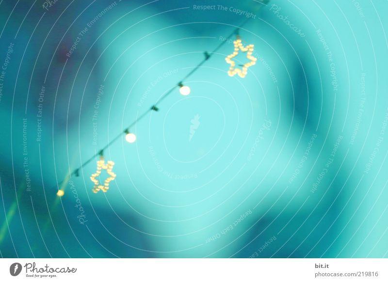 A STAR IS BORN... Weihnachten & Advent Himmel blau Winter kalt oben Luft Stimmung Beleuchtung Feste & Feiern Perspektive Stern (Symbol) Kabel Kitsch Dekoration & Verzierung