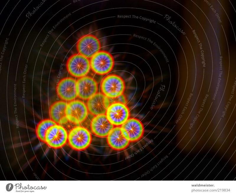 Weihnachtsbaum glänzend Vorfreude ästhetisch regenbogenfarben Stern (Symbol) Farbfoto mehrfarbig Experiment abstrakt Unschärfe Textfreiraum rechts Menschenleer