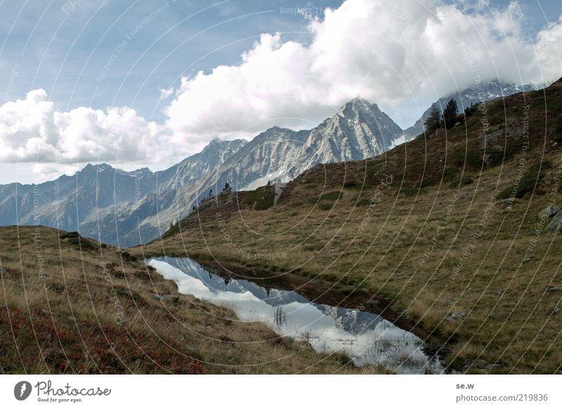 Herbstgrau ........... | Antholz [18] Wasser blau Sommer Ferien & Urlaub & Reisen ruhig Wolken Einsamkeit Ferne Wiese Gras Berge u. Gebirge Freiheit braun Alpen