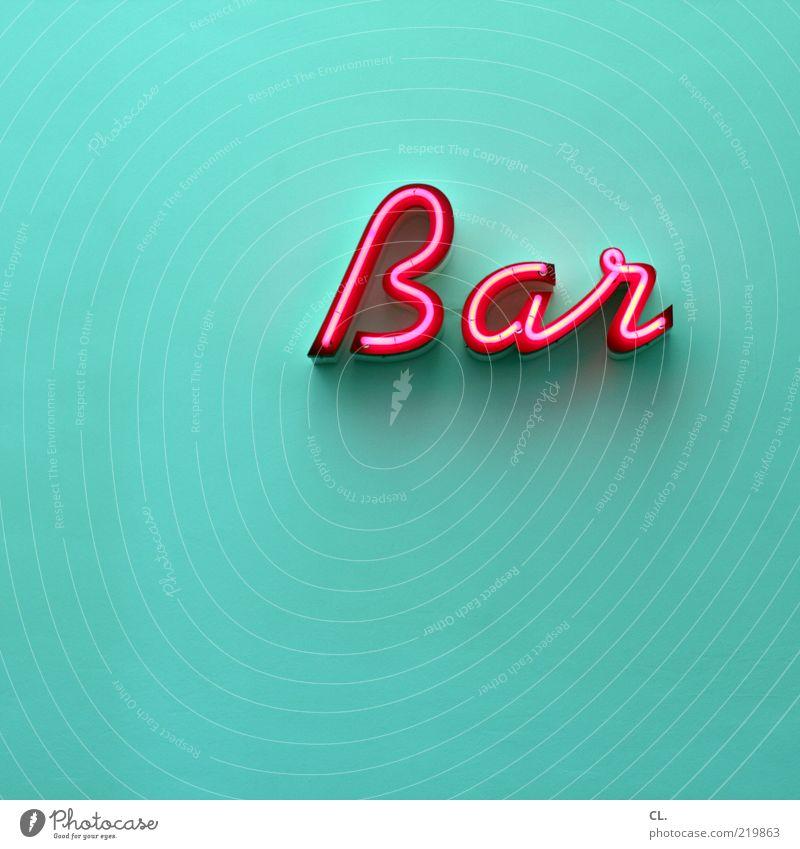 bar Lifestyle Nachtleben ausgehen clubbing Coolness Bar Gastronomie türkis magenta rosa Leuchtreklame Typographie Wand Menschenleer Textfreiraum links