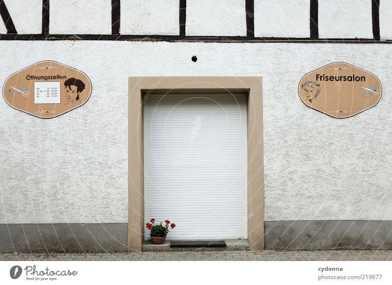 Friseursalon Lifestyle schön ruhig Dienstleistungsgewerbe Feierabend Haus Mauer Wand Tür Schilder & Markierungen Beratung Einsamkeit geheimnisvoll Idee