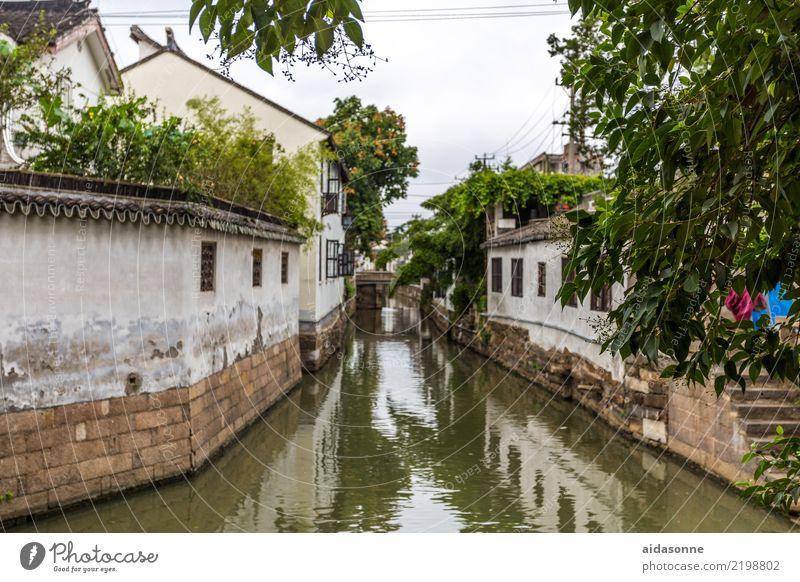 Kanal in Xitang China Asien Stadt Altstadt Menschenleer Haus schön Fernweh Leben Stimmung Farbfoto Außenaufnahme Tag Totale